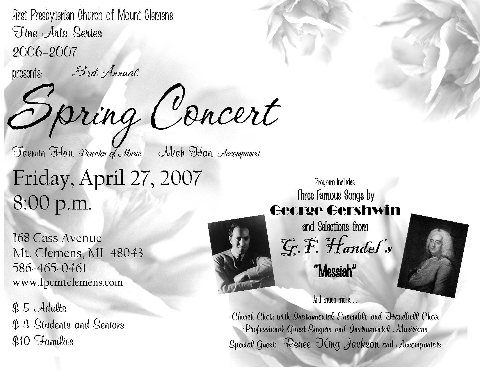 Programs and Posters of Church Concerts – Concert Program